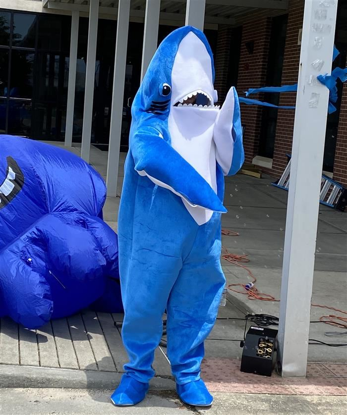 Picture of Shark Mascot at Nichols EOY Celebration