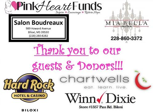 Photograph of the Donor's Recognition board for the Biloxi Upper Pink Hearts donation event