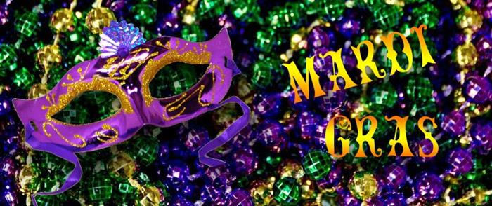 Image of Mardi Gras Mask and Beads