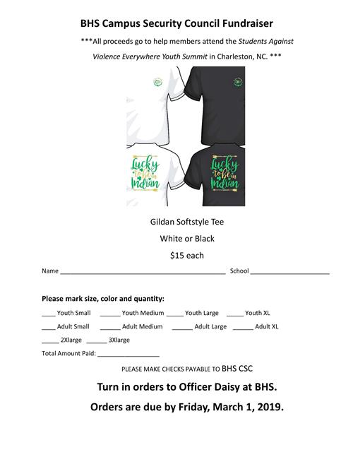 Campus Security t-shirt fundraiser form