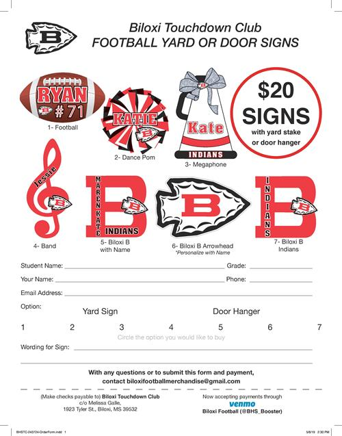 yard sign fundraiser for football