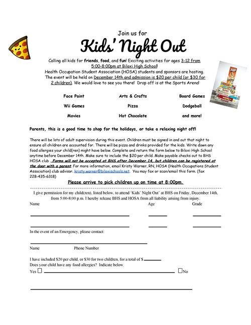 Kids' Night Out Fundraiser