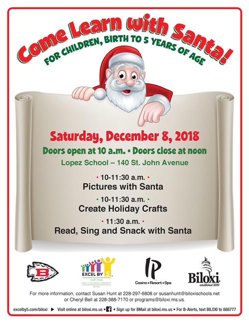 Come Learn With Santa Excel event