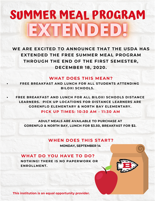 Summer Meal Program Extended