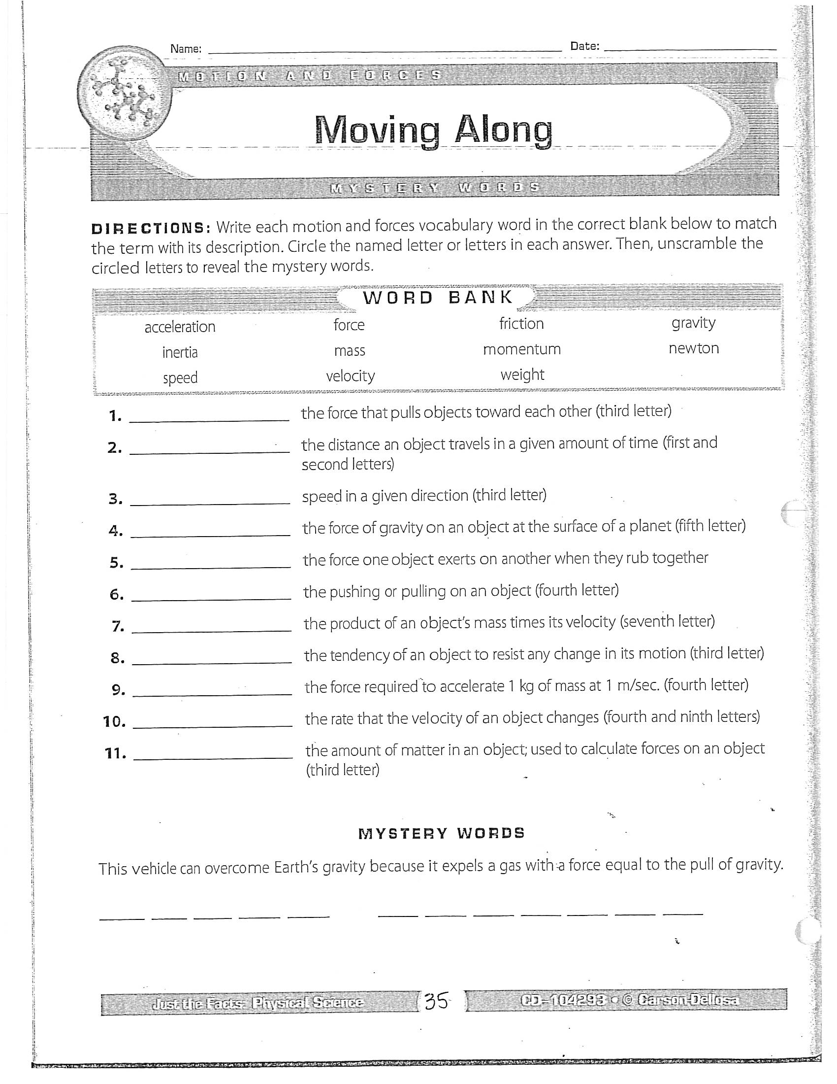 Jacobs, Dawn / SCIENCE TERM 24 Throughout Bill Nye Motion Worksheet