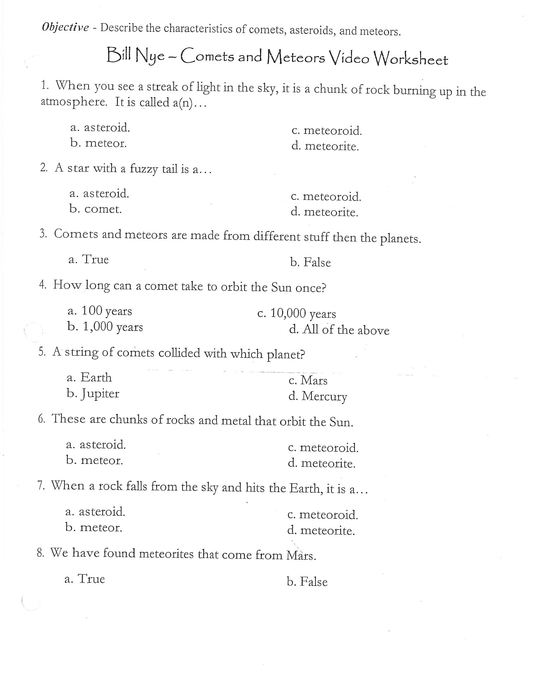 Bill Nye Comets And Meteors Worksheet Answers ...