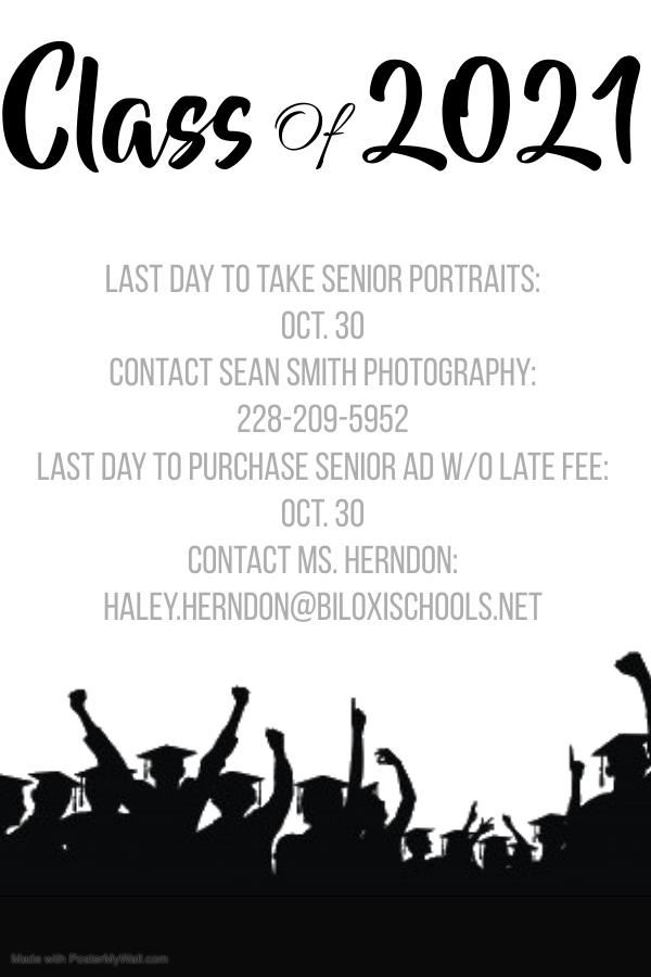 Senior Picture Deadline is October 30th