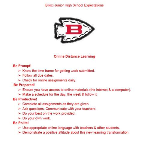 BJH Online Distance Learning Expectations