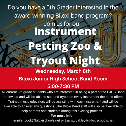 Band Instrument Tryout Night for 5th Graders